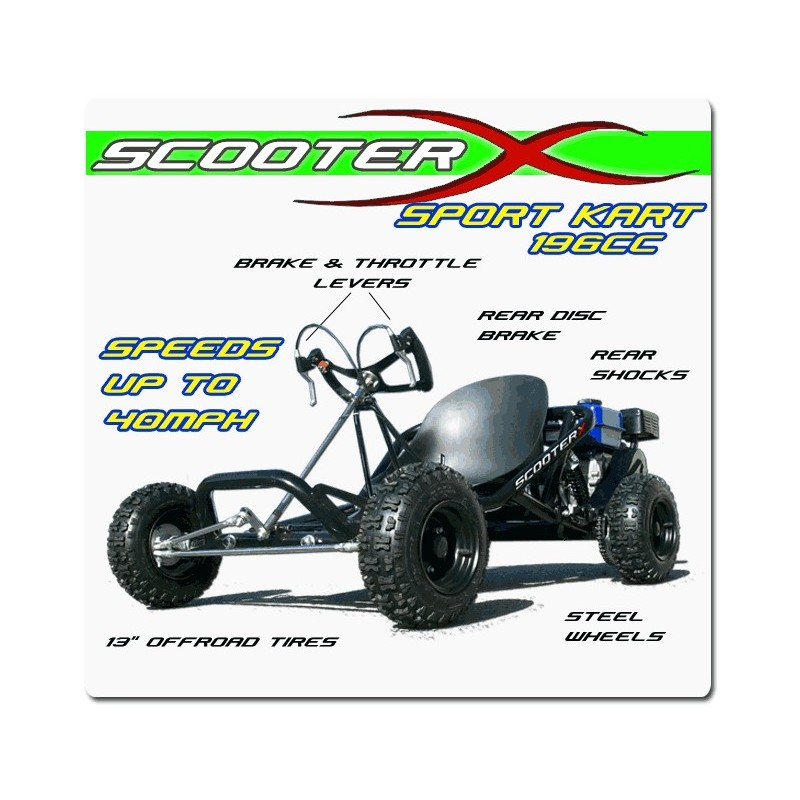 196cc 6.5hp Sport Kart off road Go Kart from ScooterX