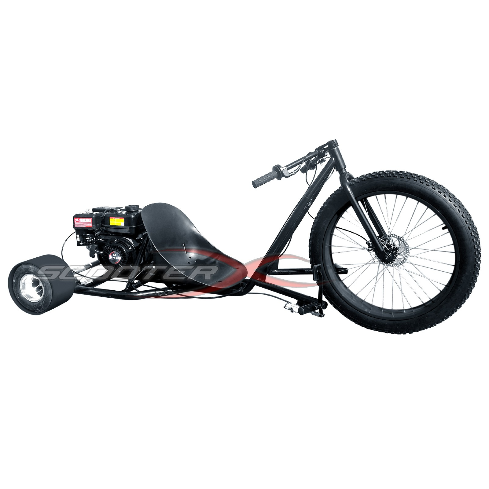 6 5hp gas powered scooterx drift trike aka big wheel 3 for Big wheel motor scooter