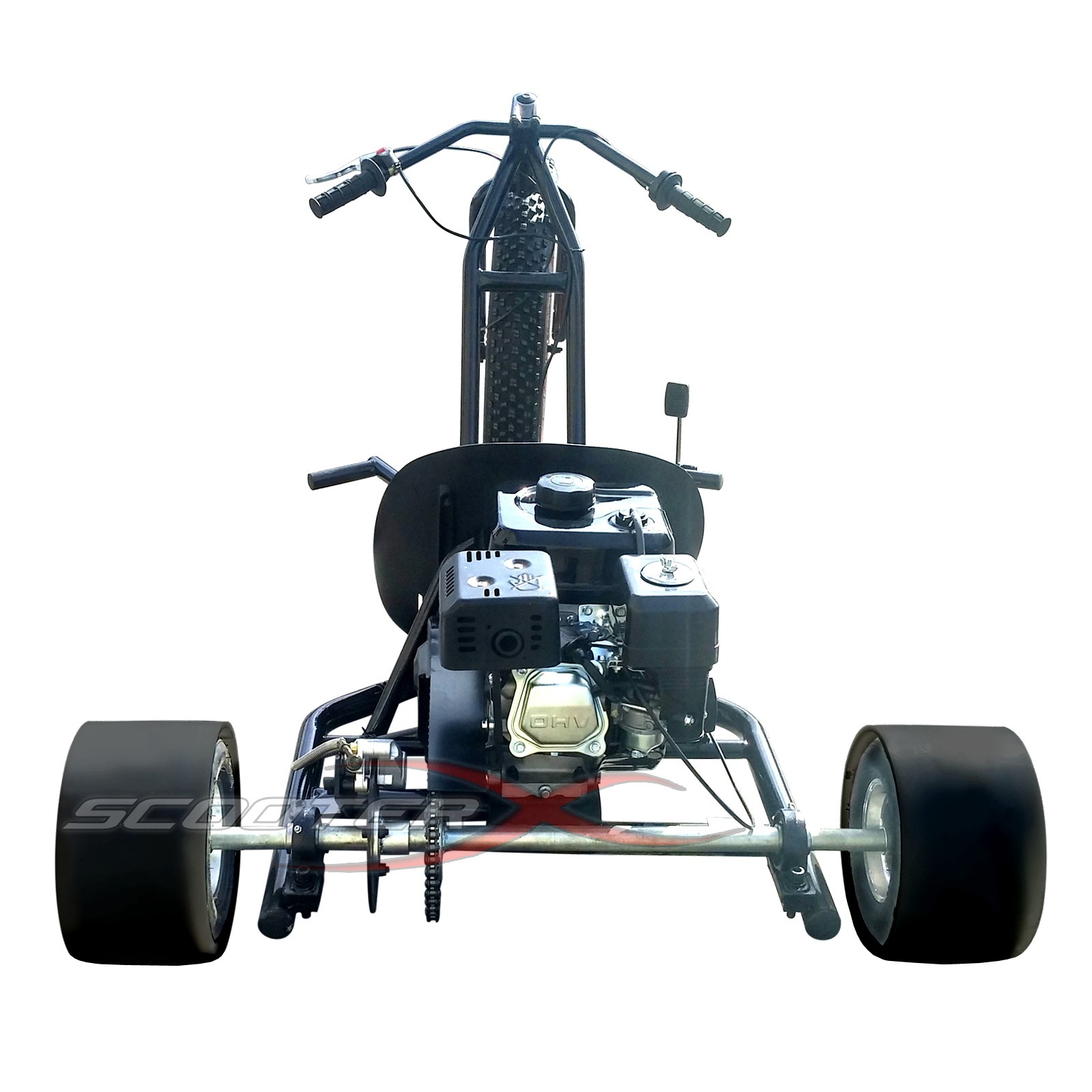6 5hp gas powered scooterx drift trike aka big wheel 3 for Gas powered motorized scooter