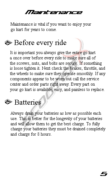 Epowerkart manual page 5