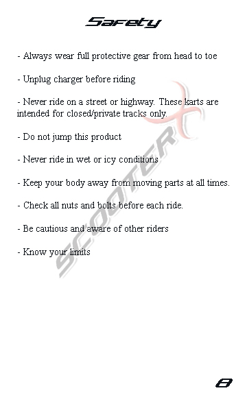 Epowerkart manual page 8